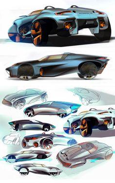 Porsche Concept Design Sketch by Yury Zamkovenko - Car Body Design Car Design Sketch, Car Sketch, Supercars, New Model Car, Industrial Design Sketch, Futuristic Cars, Car Posters, Car Drawings, Transportation Design