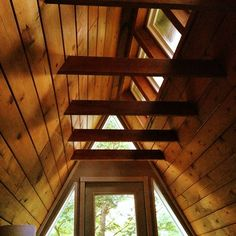 skylights along peak A Frame Cabin, A Frame House, Lake Cabins, Cabins And Cottages, Cottage In The Woods, Cabins In The Woods, Dormer Roof, House Window Design, Cabin Interiors