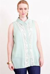 Dainty Day Lace Inset Sleeveless Turn Collar Blouse in Mint  #plusSizeTops #boutique #plussize #tops