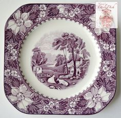 Surrender of Cornwallis - Vintage Purple Aubergine English Transferware Plate - American History - Historical Plate - Crown Ducal - Nancy's Daily Dish Purple Love, All Things Purple, Vintage Dishes, Vintage China, Antique China, Ceramic Plates, Decorative Plates, Grazing Cow, Purple Kitchen