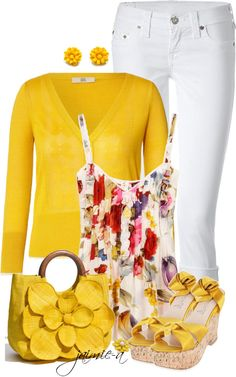 """Yellow Cardigan & Floral Camisole"" by jaimie-a ❤ liked on Polyvore"