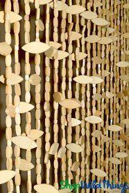 "Wooden Bead Curtain ""Breezy"" - 35 1/2"" x 72"" - 26 Strands"