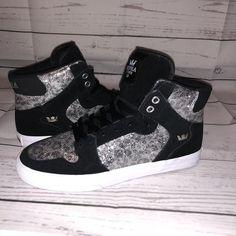 6a03982733 NEW SUPRA Shoes sz 9 Vaider Black Cheetah Silver Glitter High Top Women  Sneakers  SUPRA  HighTop