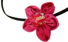 Bargain Headbands, Pink Peony Sequined Five Petal Flower, Gorgeously Glowy Sparkly Headband $15.99