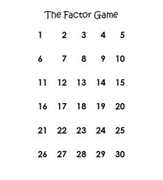 The Factor Game!