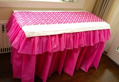 DIY Pink Barbie Party A DIY Barbie birthday party with lots of pink decor. Easy ruffled tablecloth, DIY Barbie favors, a wall mounted TV cover, cupcake stand and more. Barbie Birthday Party, Barbie Party, Birthday Table, Birthday Ideas, Diy Party Table Decorations, Diy Table, Doorway Decorations, Decorating Tables, Carnival Decorations