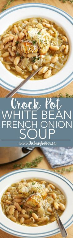This Crock Pot White Bean French Onion Soup is a super easy twist on French Onion Soup that's vegetarian and made in the slow cooker! Recipe from thebusybaker.ca!