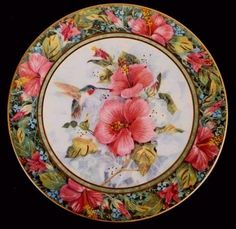 Hummingbirds & hibiscus! How pretty is THAT? A Royal Doulton collectors plate issued back in the 1980s by Franklin Mint, from ChinaRose Cottage
