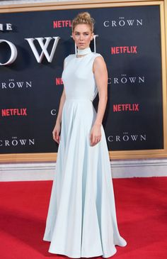 Vanessa Kirby's Red Carpet Moments Prove She's Fashion Royalty Marchesa Gowns, Vanessa Kirby, British Academy Film Awards, Slicked Back Hair, Anya Taylor Joy, Versace Dress, Column Dress, Princess Margaret, Blue Gown