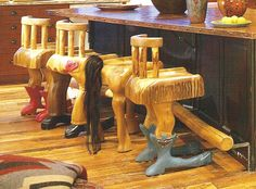 The cutest bar stools!!  This came from an old (OLD) magazine about building log homes, but, alas, I know not which one.