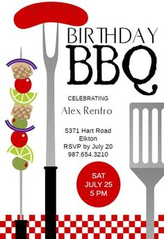 Grill Gathering - Birthday Invitation