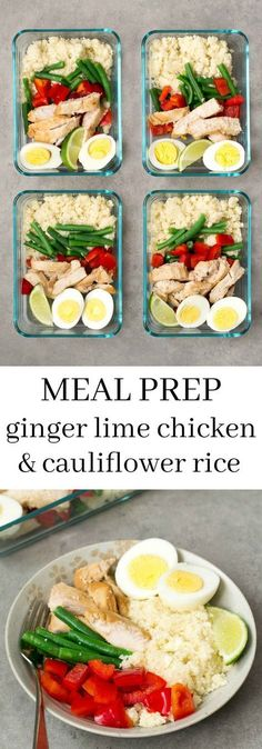 This ginger lime chicken cauliflower rice bowl is a delicious make-ahead recipe . - This ginger lime chicken cauliflower rice bowl is a delicious make-ahead recipe for weekend meal pr - Paleo Meal Prep, Lunch Meal Prep, Meal Prep Bowls, Easy Meal Prep, Paleo Diet, Meal Preparation, Dinner Meal, Weekend Meal Prep, Meal Prep For The Week