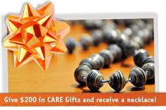 Free handcrafted necklace with $200 CARE Gifts purchase Nov 29 - Dec 3 #BlackFriday #CyberMonday #GivingTuesday