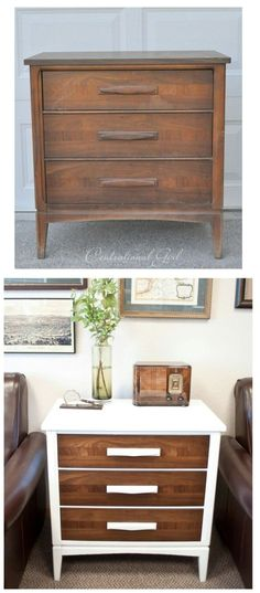 Love the white and wood mixture! // This would be easy to find a great piece and re paint it!