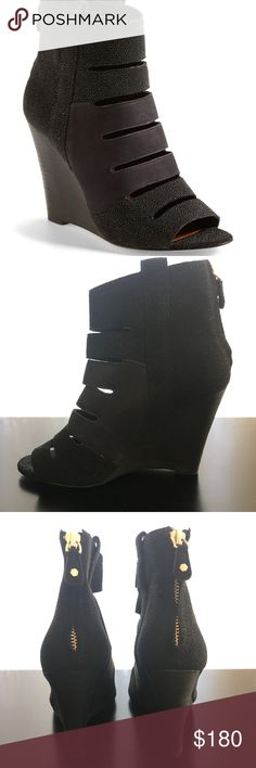 """Rebecca Minkoff Sonny Wedge Bootie Black Size 6.5 Rebecca Minkoff Sonny wedge cut out bootie in sold out textured black combo!   Size 6.5.  New without box.  Soles have sticker residue and one of the soles shows signs of being tried on indoors.  Please see pictures.    """"Raised pebbling lends textural intrigue to a striking stacked-wedge bootie crafted with streamlined cutouts for an edgy, on-trend look."""" 4"""" heel. Back zip closure Leather upper, lining and sole.  Offers welcome!  Thanks for…"""