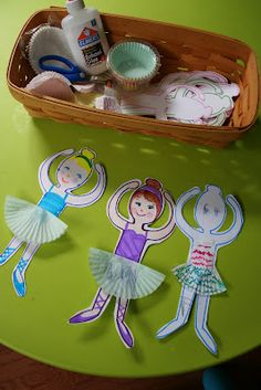Birthday craft? Ballerina paper dolls. {cupcake liners for skirts. link to template too.}