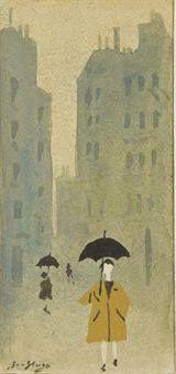 Jean Hugo. PARIS SOUS LA PLUIE. 1957. Gouache et aquarelle sur papier. 12,6 x 7,3 cm.