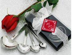 """Love Beyond Measure"" Heart-Shaped Measuring Spoons in Gift Box at Elegant Gift Gallery. We're your number one source for wedding favors and bridal shower favors. Measuring spoons at discount prices! Elegant Wedding Favors, Wedding Favours, Unique Weddings, Party Favors, Wedding Ideas, Party Gifts, Tea Party, Birthday Favors, Birthday Invitations"