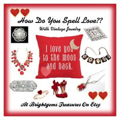 """How do you spell love"" by brightgemsu valentines day jewelry, brooches, necklaces, rings and more"