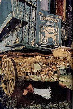 Caravan Gypsy Vardo Wagon:  A #Gypsy wagon and its occupant.
