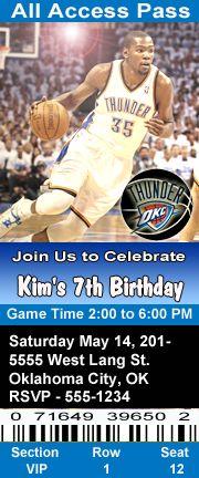 Oklahoma City Thunder Basketball Theme Birthday Party Invitations 2.5 x 6 inch Ticket Style Personalized