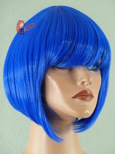 "Wigs By Length :: Short Wigs :: 13 inch :: Selene- 13"" Dark Blue A-Line Bob Short Cosplay Wig - Epic Cosplay Wigs - USA Wig Store for cosplay, anime, manga, halloween, theater, and costume wigs."