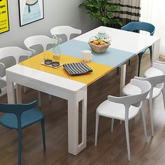 Foldable Dining Table, White Dining Table, Modern Dining Table, Bed Furniture, Living Room Furniture, Modern Furniture, Off White Bedrooms, Space Saving Table, White Buffet
