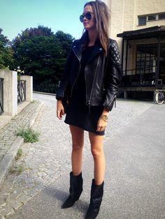 black boots black leather jacket