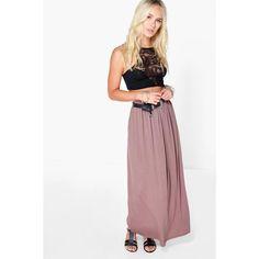 Boohoo Petite Petite Melly Floor Sweeping Viscose Maxi Skirt ($20) ❤ liked on Polyvore featuring skirts, mocha, pleated midi skirt, midi skirt, long bodycon skirt, white pleated skirt and maxi skirt