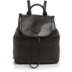 Tory Burch Backpack - Marion Quilted (3094040 PYG) ❤ liked on Polyvore featuring bags, backpacks, black, logo backpacks, real leather backpack, black leather backpack, black quilted backpack and strap backpack