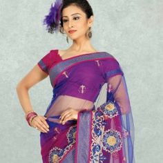 Fuchsia & Navy Blue Net Embroidered Saree buy on www.Readyforshop.com