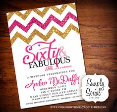 Glitter Glam Surprise 40th 50th 60th Birthday Party Invitation with Gold Glitter and Hot Pink Chevron
