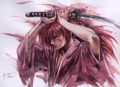 Kenshin Himura - my favorite anime character ever. I always find myself drawing and painting him now and then. Rurouni Kenshin, Kenshin Anime, Era Meiji, Sci Fi Anime, Anime Manga, Kenshin Le Vagabond, Outlaw Star, Fiction Movies, Samurai Jack