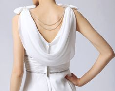 love the bows on the shoulders, the swoop back and chains. nice details. 1930 vintage wedding dress greek wedding dress by Prettyobession, $125.00