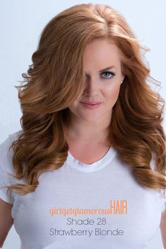 "Strawberry Blonde Shade 28 is our signature strawberry blonde shade!  This is the 16"" 160 grams, double drawn set."