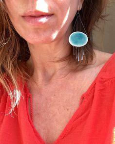 Big, oval, statement, turqouise crackle dangle earrings