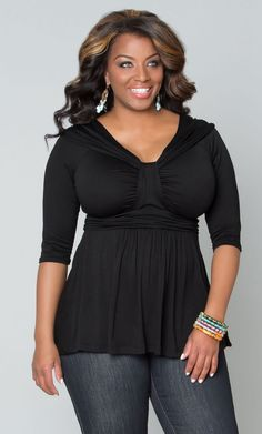 A flowy black top with simple gathered detailing like our plus size Gracefully Gathered Top would be fantastic with jeans.  www.kiyonna.com  #KiyonnaPlusYou