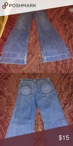 Limited wide leg jeans Wide leg limited jeans with pocket designs The Limited Jeans Flare & Wide Leg