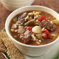 Barley Beef Soup and Only  168 Calories per Serving! Best Part is it's a slow cooker meal.
