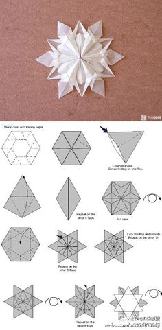 Origami Snowflake with tracing paper