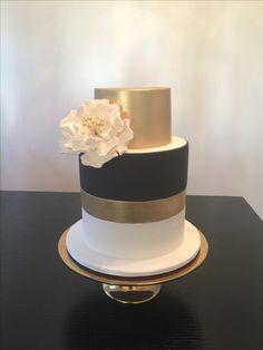 Gold, black and white birthday cake White Birthday Cakes, Cake Decorating, Desserts, Gold, Black, Tailgate Desserts, Deserts, Black People, Postres