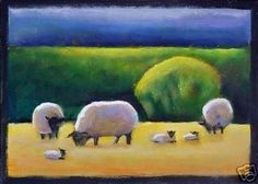 Animal Folk Art Paintings | Folk Art Sheep Lambs Springtime Landscape Colorful -- Toni Grote
