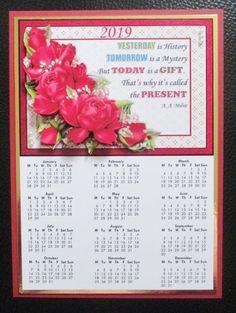 DEEP PINK ROSES 2019 A4 Calendar with Decoupage Mini Kit - CUP894080_68 | Craftsuprint