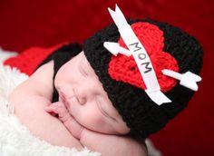 RUSH my I love Mom Biker Beanie hat black hat red by thebabypea, $24.00