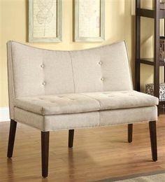 Galen Beign Linen Wood Accent Love Chair