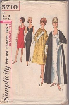 Simplicity 5710 Vintage 60's Sewing Pattern SIZZLING HOT Rockabilly Scoop Neck Bombshell Cocktail Dress, Evening Red Carpet Gala Gown, Lined Clutch Jacket or Opera Coat #MOMSPatterns