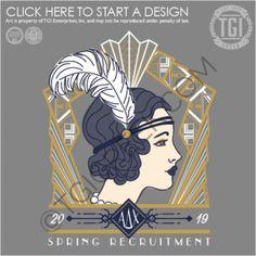 Alpha Delta Chi-GSU Spring 2019 Recruitment: Great Gatsby retro woman feather roaring lines geometric eyebrow lips waves curls Greek letters spring recruitment Sorority Rush Shirts, Sorority Recruitment Themes, Spring Recruitment, Sorority Formal, Sorority Pr, Sorority Banner, Fraternity Shirts, Kappa Delta Chi, Tri Delta