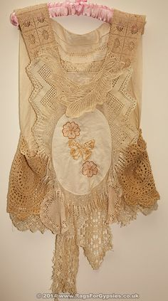 Avy Unique Doilie and Lace Ragged Tattered Gypsy/Bohemian Top with Embroidered front