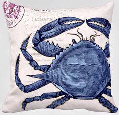 Pillow Cover Beach Decor Blue Crab