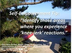 """Self-Empowerment Tip: """"Identify those areas where you experience 'knee-jerk' reactions."""" -Mary Anne Kochut, Author: Power vs. Perception: Ten Characteristics of Self-Empowerment for Women www.championsforsuccess.net"""